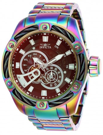 Men's Bolt Brown Dial Iridescent Stainless Steel Band Automatic Watch