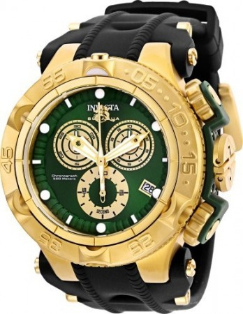 Men's Subaqua Noma V Green Dial Black/Gold Polyurethane/Stainless Steel Band Quartz Watch
