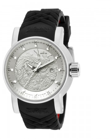 Men's S1 Rally Silver Dial Black Polyurethane Band Automatic Watch