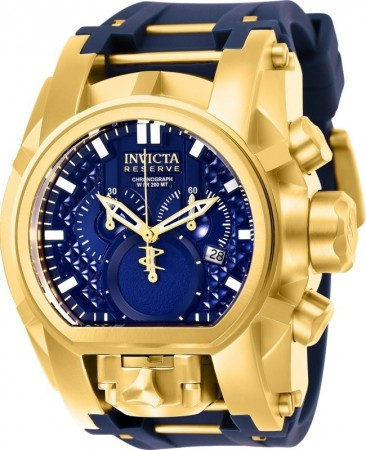 Men's Reserve Bolt Zeus Blue Dial Blue/Gold Polyurethane/Stainless Steel Band Quartz Watch
