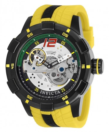 Men's S1 Rally Race Team Silver Dial Yellow/Black Inserts Silicon Band Quartz Watch