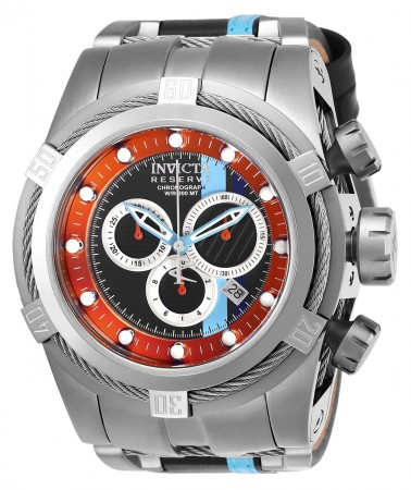 Men's Reserve Race Team Orange Dial Blue/Stainless Steel Leather/Stainless Steel Band Quartz Watch