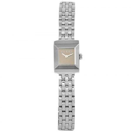 Women's G-Frame Brown Dial Gun Metal Stainless Steel Band Quartz Watch