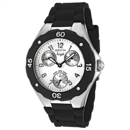 Women's Angel White Dial Black Silicon Band Quartz Watch