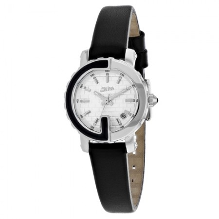 Women's Classic White Dial Black Leather Band Quartz Watch