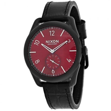 Women's C39 Red Dial Black Leather Band Swiss Quartz Watch