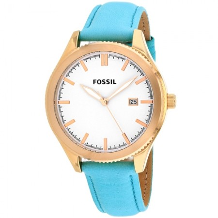 Women's Classic White Dial Teal Leather Band Quartz Watch