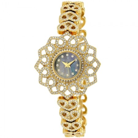Women's Chantilly Black Dial Gold-Tone Stainless Steel Case Back Band Quartz Watch