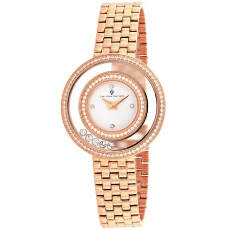 Women's Gracieuse White Dial Rose Gold-Tone Stainless Steel Band Quartz Watch