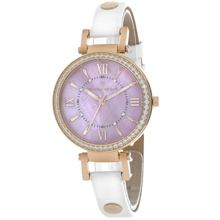 Women's Petite Pink Dial White Leather Band Swiss Parts Quartz Watch