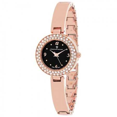 Women's Palisades Black Dial Rose Gold-Tone Stainless Steel Band Quartz Watch