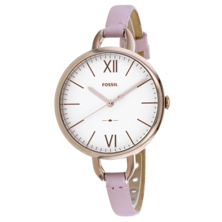 Women's Annette White Dial Pink Leather Band Quartz Watch