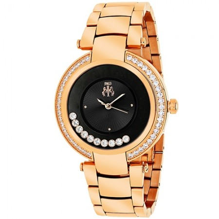 Women's Celebrate Black Dial Rose Gold-Tone Stainless Steel Band Swiss Parts Quartz Watch