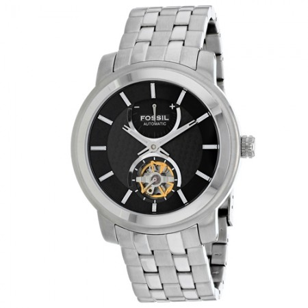 Men's Classic Black Dial Gun Metal Stainless Steel Band Automatic Watch