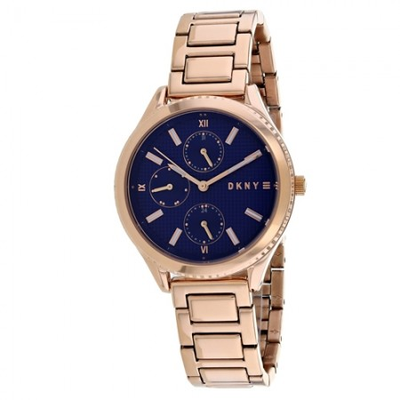 Women's Woodhaven Blue Dial Rose Gold-Tone Stainless Steel Band Quartz Watch