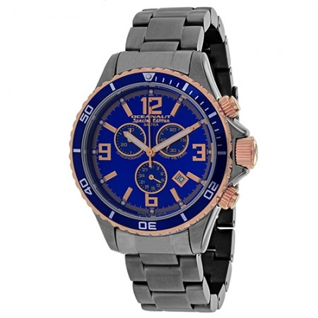 Men's Baltica Special Edition Blue Dial Gunmetal Stainless Steel Band Swiss Parts Quartz Watch
