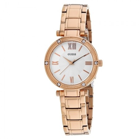 Women's Park Ave White Dial Rose Gold-Tone Stainless Steel Band Quartz Watch