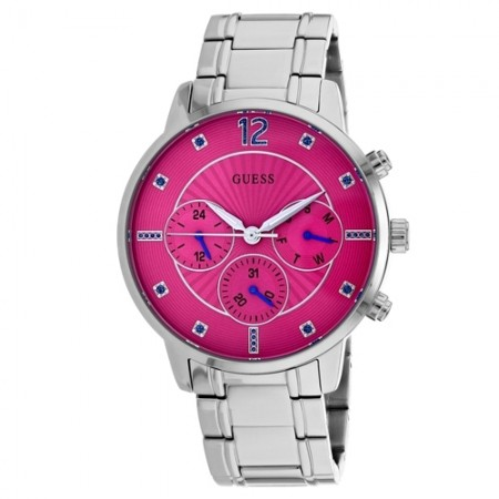 Women's Sunset Pink Dial Gun Metal Stainless Steel Band Quartz Watch