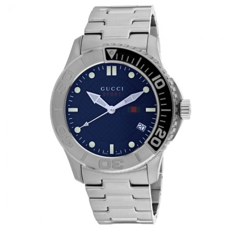 Men's G-Timeless Blue Dial Gun Metal Stainless Steel Band Quartz Watch