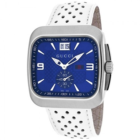 Men's G-Coupe Blue Dial White Calfskin Band Quartz Watch