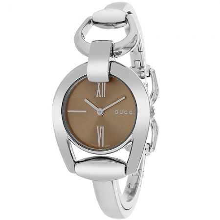 Women's Horesebit Brown Dial Gun Metal Stainless Steel Band Quartz Watch