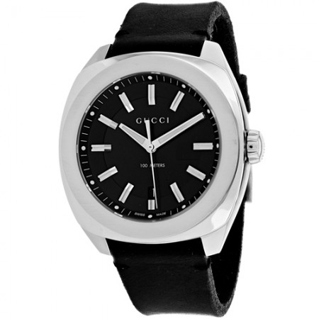 Men's Gg2570 Black Dial Black Leather Band Quartz Watch