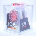 Men's Ice-Pure Big Red Dial Translucent Plastic Watch